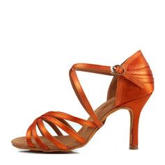Mulheres Cetim Saltos Latino Sapatos de dança (053149277)