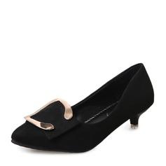 Женщины Замша Низкий каблук (рюмка) Закрытый мыс с пряжка обувь (085150505)