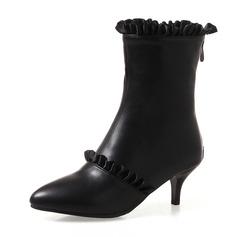 Femmes Similicuir Talon stiletto Escarpins Bout fermé Bottes Bottines Bottes mi-mollets avec Plissé Zip chaussures (088172572)