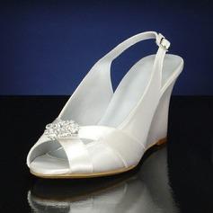 Mulheres como o cetim de seda Plataforma Sandálias Calços com Strass (047143535)