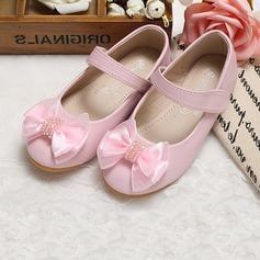 Fille de Bout fermé similicuir talon plat Chaussures plates Chaussures de fille de fleur avec Bowknot (207095555)