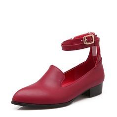 Женщины кожа Низкий каблук На каблуках Закрытый мыс с пряжка Другие обувь (085153091)