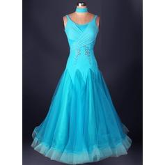 Женщины Одежда для танцев Спандекс Органза Латино Платья (115091484)