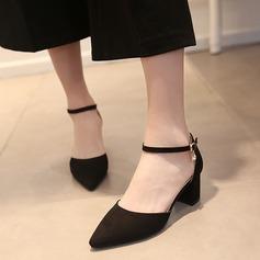Женщины Замша Устойчивый каблук Сандалии На каблуках Закрытый мыс с пряжка обувь (085111837)