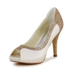 Женщины Атлас Высокий тонкий каблук Открытый мыс На каблуках Сандалии с Мерцающая отделка (047048533)