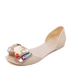 Kvinner PVC Flate sko Titte Tå med Bowknot sko (086165217)
