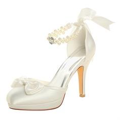 Женщины шелка как атласное Высокий тонкий каблук Платформа На каблуках с хрусталь жемчуг (047118980)