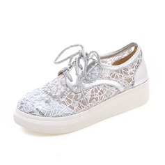 Vrouwen Kunstleer Kant Flat Heel Flats Closed Toe schoenen (086089832)