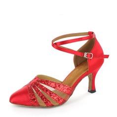 De mujer Satén Brillo Chispeante Malla Tacones Sala de Baile con Tira de tobillo Zapatos de danza (053119272)