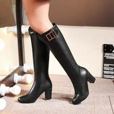 кожа Устойчивый каблук Сапоги выше колен с пряжка обувь (088097396)