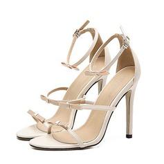 Mulheres Couro Salto agulha Peep toe Sandálias Beach Wedding Shoes com Bowknot (047123628)