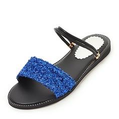 Женщины Кукурузные отруби Плоский каблук Сандалии Открытый мыс Босоножки с Плетеный ремень обувь (087155460)