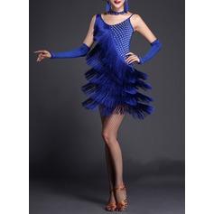 Женщины Одежда для танцев полиэстер Латино Платья (115087955)