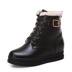Femmes Similicuir Talon plat Plateforme Bottes Bottes neige avec Dentelle chaussures (088176612)