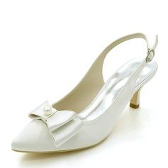 Женщины шелка как атласное Высокий тонкий каблук На каблуках с бантом жемчуг (047146226)