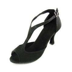 Kvinder Satin sandaler Latin med T-Strop Dansesko (053012952)