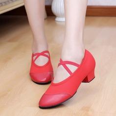 Женщины Холст кожа Сандалии Балет Обувь для танцев (053048829)