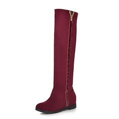 Женщины Замша Вид каблука Сапоги до колен обувь (088074028)