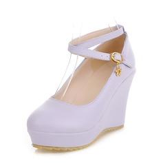 Женщины PU Вид каблука Закрытый мыс Танкетка с пряжка обувь (116152272)