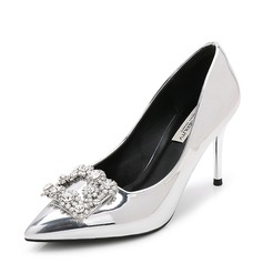 Women's Patent Leather Stiletto Heel Pumps Closed Toe With Rhinestone shoes (085155237)