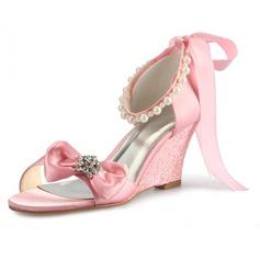 Kvinnor Satäng Kilklack Pumps Sandaler med Fören Oäkta Pearl (047056193)
