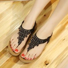 Kvinner Lær Flat Hæl Sandaler Flate sko Titte Tå med Rhinestone Elastisk bånd sko (087115653)