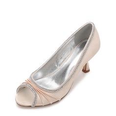 Женщины шелка как атласное Высокий тонкий каблук Открытый мыс На каблуках с горный хрусталь Рябь Цепь (047133597)
