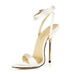 Женщины Атлас Высокий тонкий каблук Сандалии Босоножки с пряжка обувь (087051963)