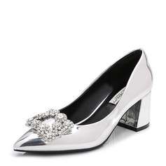 Women's Patent Leather Chunky Heel Pumps Closed Toe With Rhinestone shoes (085155249)