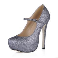 Vrouwen Sprankelende Glitter Stiletto Heel Pumps Plateau Closed Toe met Gesp schoenen (085016540)