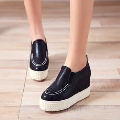 Женщины кожа Вид каблука Закрытый мыс Танкетка с Другие обувь (086119383)