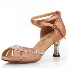 Women's Satin Heels Sandals Latin With Rhinestone Ankle Strap Dance Shoes (053025580)