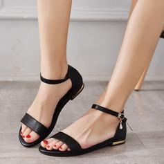 Женщины Натуральня кожа Плоский каблук Сандалии На плокой подошве Открытый мыс с пряжка обувь (087124706)