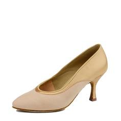 Женщины Атлас Натуральня кожа На каблуках Сандалии Бальные танцы Обувь для танцев (053116912)