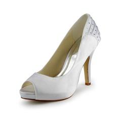 Mulher Cetim Salto cone Peep toe Plataforma Sandálias com Imitação de Diamantes Ruched (047024526)