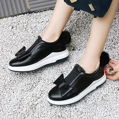 Women's PU Wedge Heel Closed Toe Wedges With Bowknot shoes (086145716)
