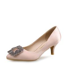 Женщины Шелковые Высокий тонкий каблук На каблуках Закрытый мыс с хрусталь обувь (085113624)