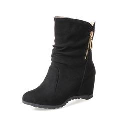 Femmes Suède Talon compensé Compensée Bottines avec Zip chaussures (088148233)