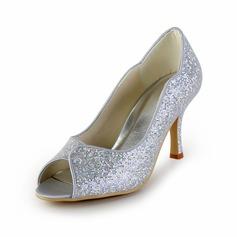 Vrouwen Kunstleren Sprankelende Glitter Cone Heel Peep Toe Sandalen (047026398)