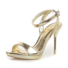 Женщины кожа Высокий тонкий каблук Сандалии На каблуках Открытый мыс с пряжка обувь (087063331)