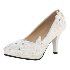 Women's Patent Leather Stiletto Heel Closed Toe Pumps With Rhinestone Stitching Lace Applique (047121456)