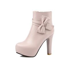 Mulheres Couro Salto agulha Plataforma Bota no tornozelo com Bowknot Zíper sapatos (088097370)