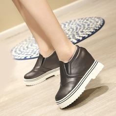 Женщины кожа Плоский каблук Закрытый мыс Танкетка с Соединение врасщеп обувь (086119397)