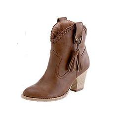 Женщины Замша Устойчивый каблук Полусапоги Мартин сапоги с кисточкой Соединение врасщеп обувь (088096241)
