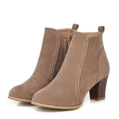 Femmes Suède Talon bottier Escarpins Bottes Bottines avec Zip chaussures (088151107)