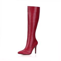 Женщины кожа Высокий тонкий каблук На каблуках Закрытый мыс Ботинки Сапоги до колен обувь (088095446)