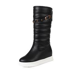 Femmes Similicuir Talon bas Bout fermé Bottes Bottes mi-mollets Bottes neige avec Rivet Boucle chaussures (088185745)