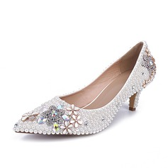 Vrouwen Patent Leather Low Heel Closed Toe Pumps met Strass (047063732)