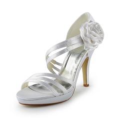 Kvinnor Satäng Cone Heel Plattformen Sandaler med Satäng Blomma (047024511)