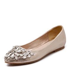 Women's Leatherette Flat Heel Flats With Rhinestone (047146139)
